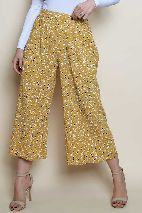 Pleated Ditsy Floral Culotte Trousers