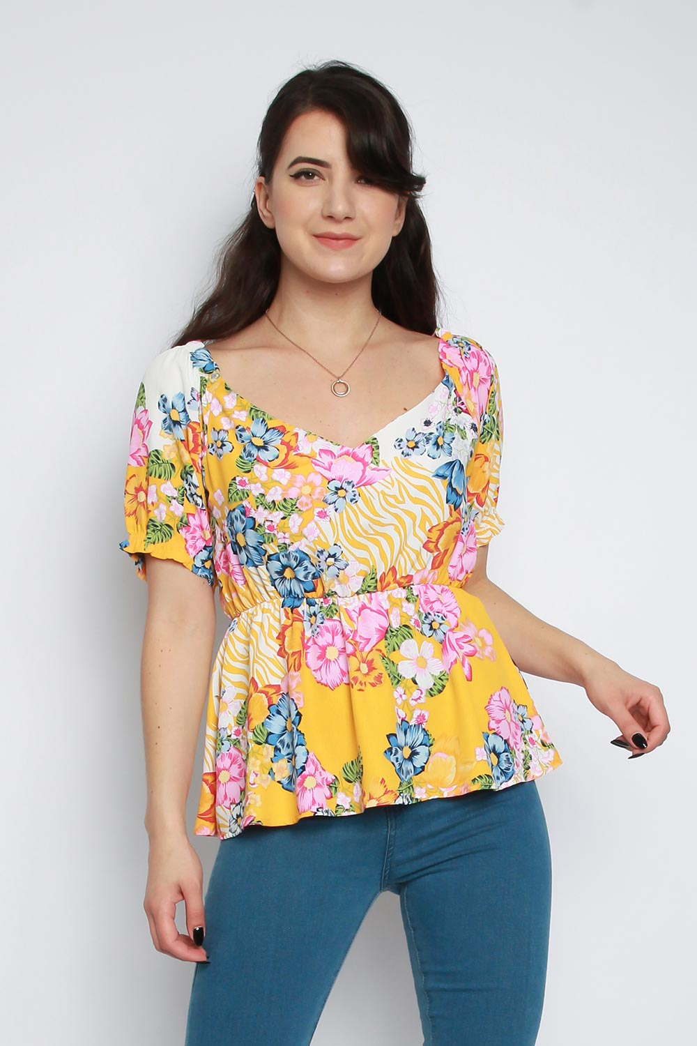 Floral Puff Sleeves Peplum Top