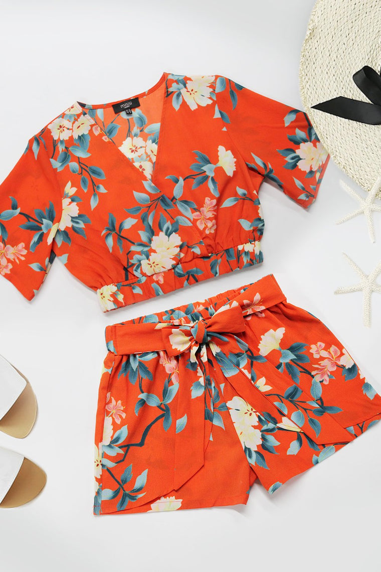 Floral Wrap Top & Shorts Co-ord