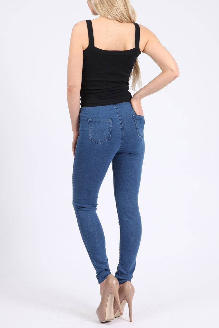 High Waisted Skinny Blue Jeans