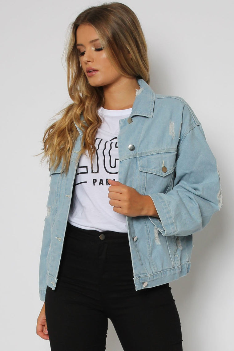 Distressed Denim Jacket With Eyelet Detail