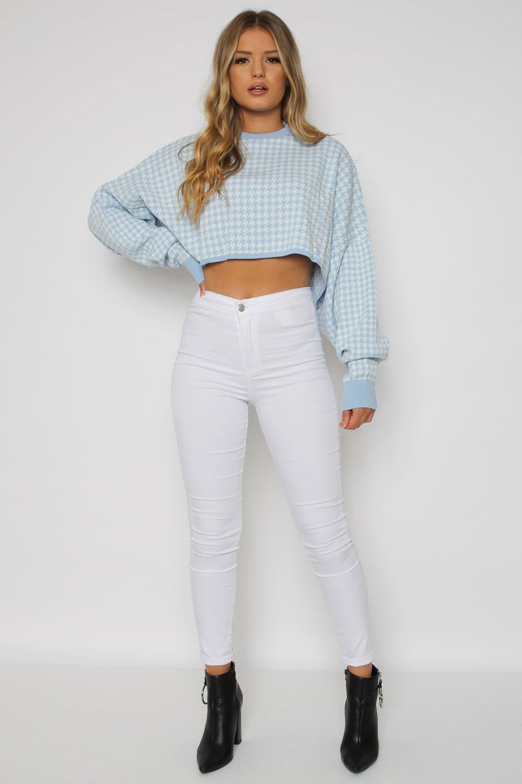 Kady Blue Houndstooth Oversized Cropped Knitted Top