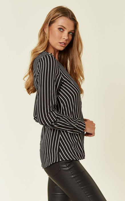 Black Stripe Wrap Front Top