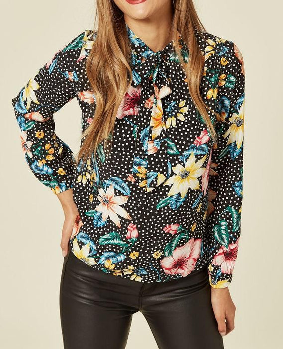 Black Floral Polka Dot Pussy Bow Blouse