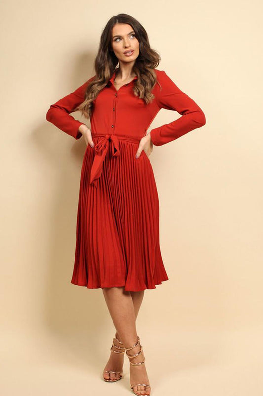 Pleated Midi Dress In Rust