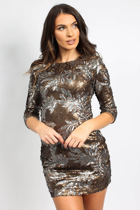 Leaf Sequin Bronze Bodycon Dress