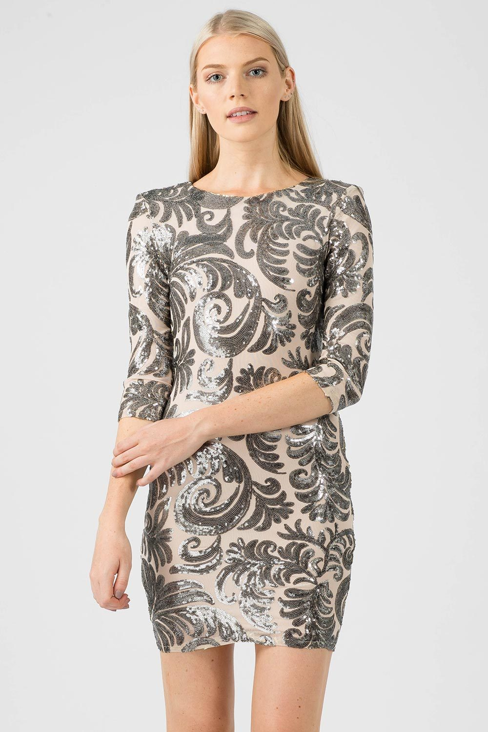 Silver Sequin Floral Bodycon Dress