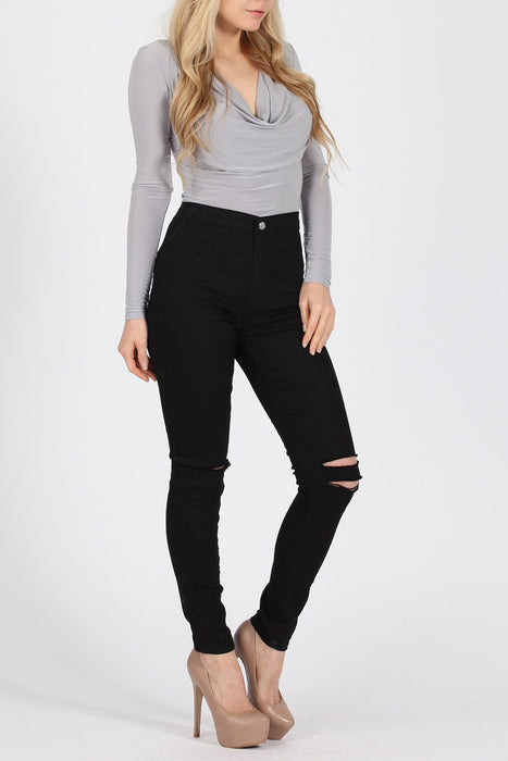 Ripped High Waisted Skinny Black Jeans