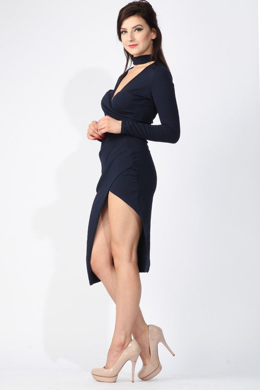 Navy Choker Wrap Plunge Dress