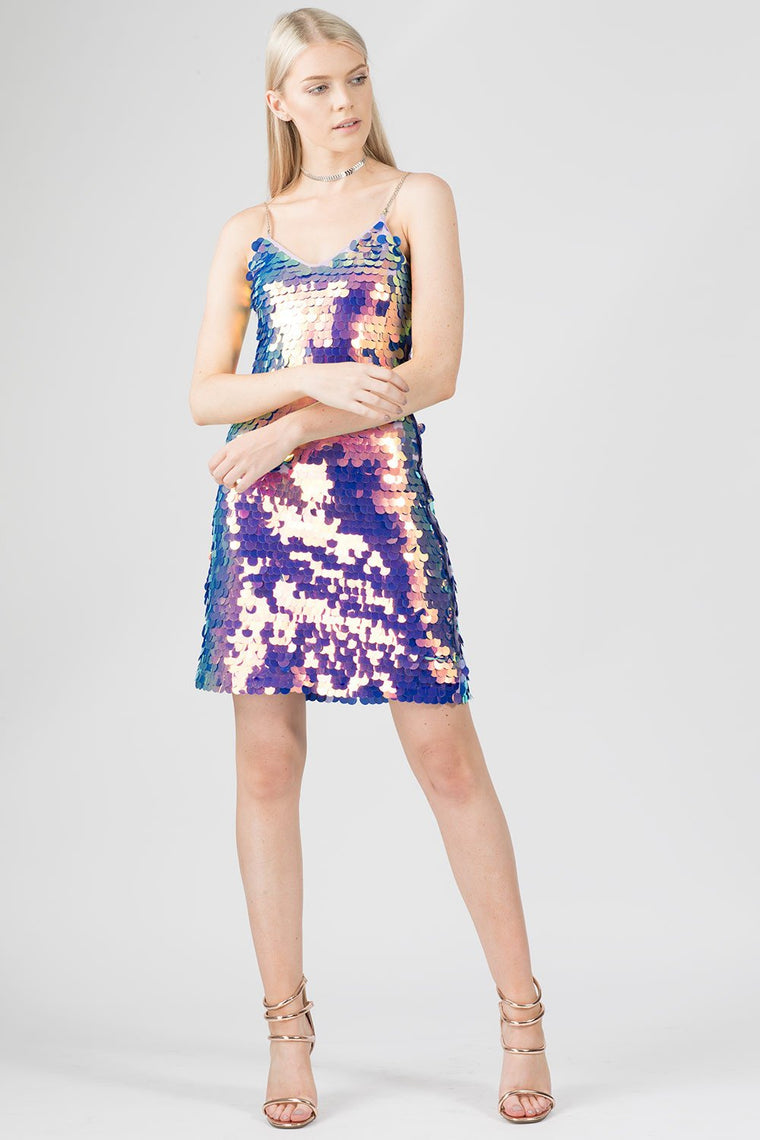 Holographic Purple Disc Iridescent Sequin Dress