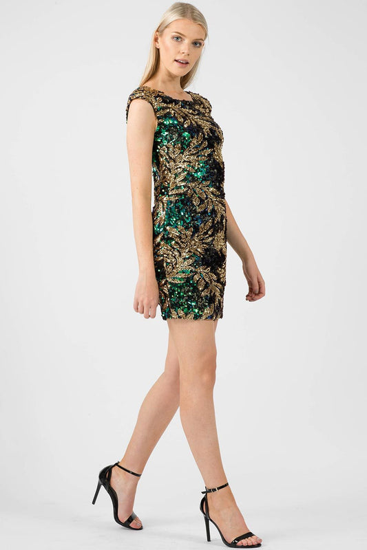 Floral Sequin Bodycon Dress