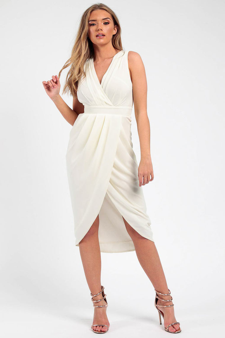 Ivory Pleated Wrap Midi Dress
