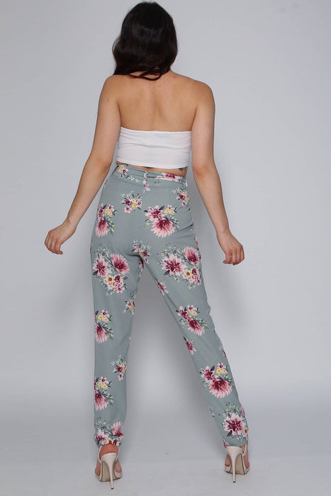 Mint Floral Tie Belt Trousers