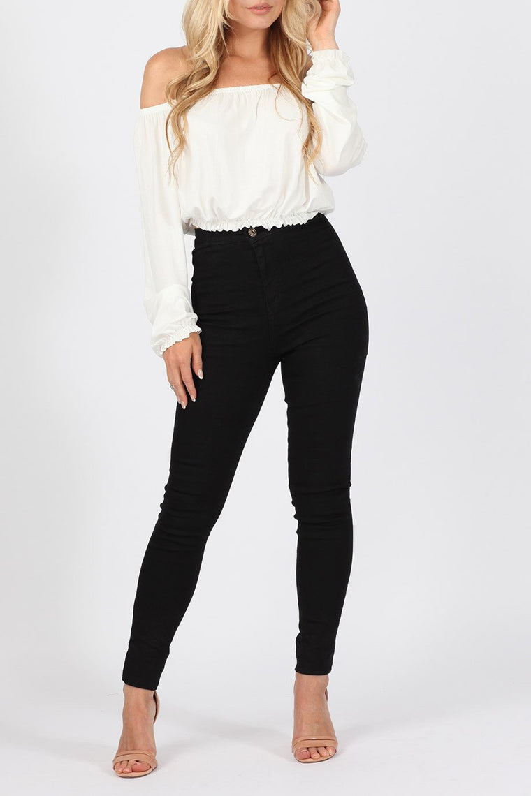 High Waisted Skinny Black Jeans