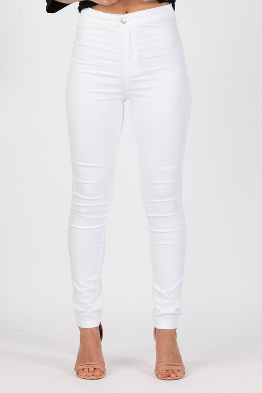 High Waisted Skinny White Jeans