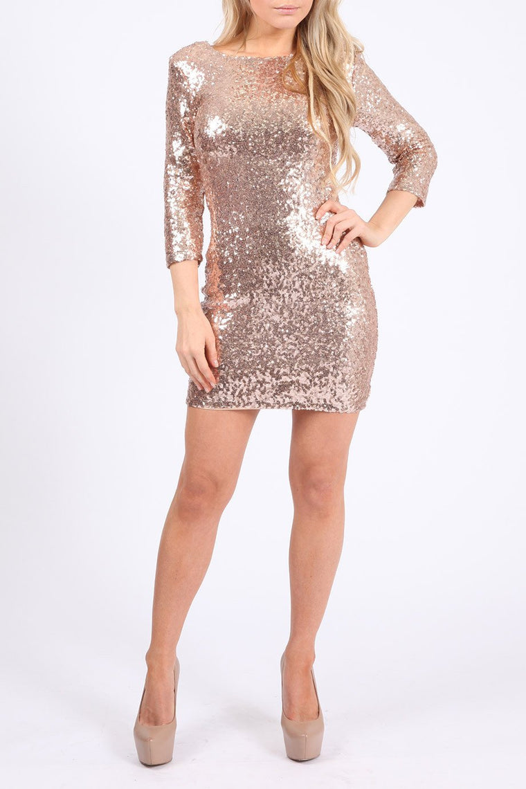 Long Sleeve Rose Gold Sequin Bodycon Dress