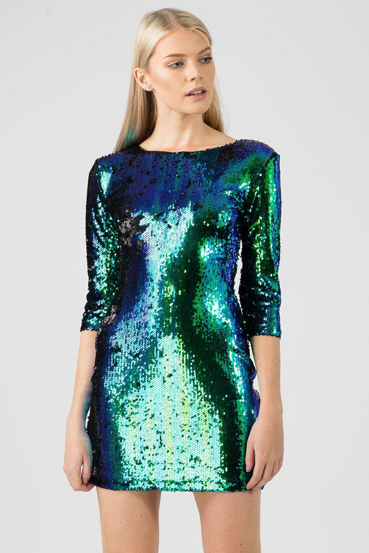 Two Tone Green Iridescent Sequin Dress