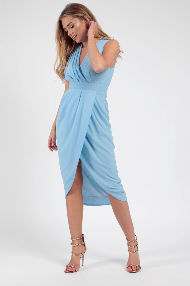Powder Blue Pleated Wrap Midi Dress