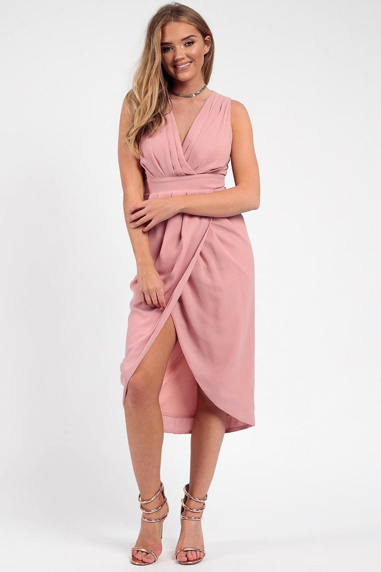 Rose Pleated Wrap Midi Dress