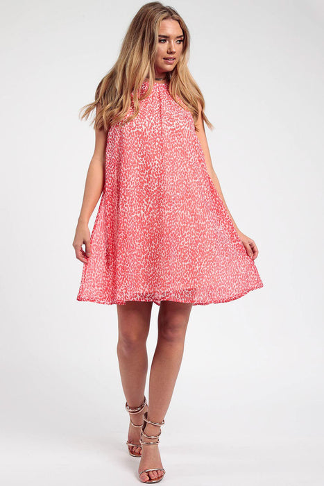 Printed Coral Swing Dress