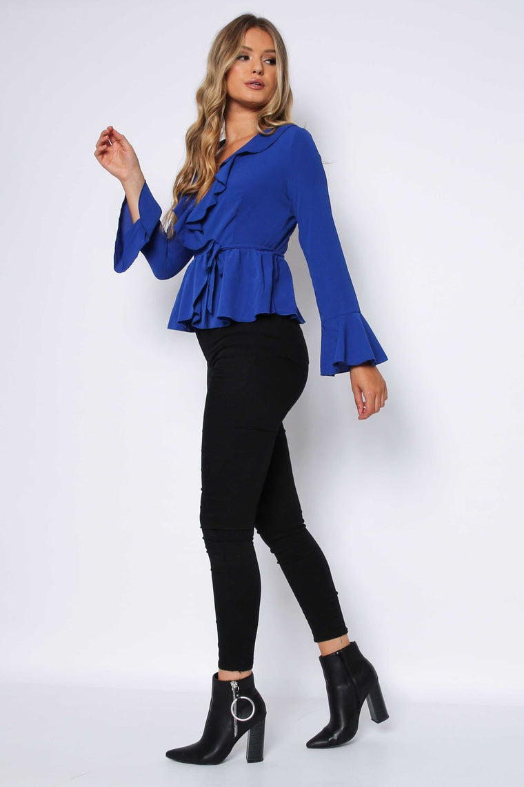 Royal Blue Crepe Frill Wrap Top