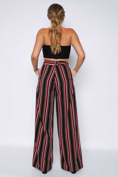 Black Multi Stripe Wide Leg Trousers