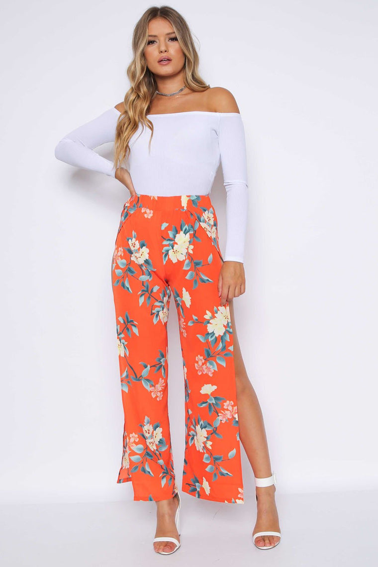 Floral Side Split Trousers