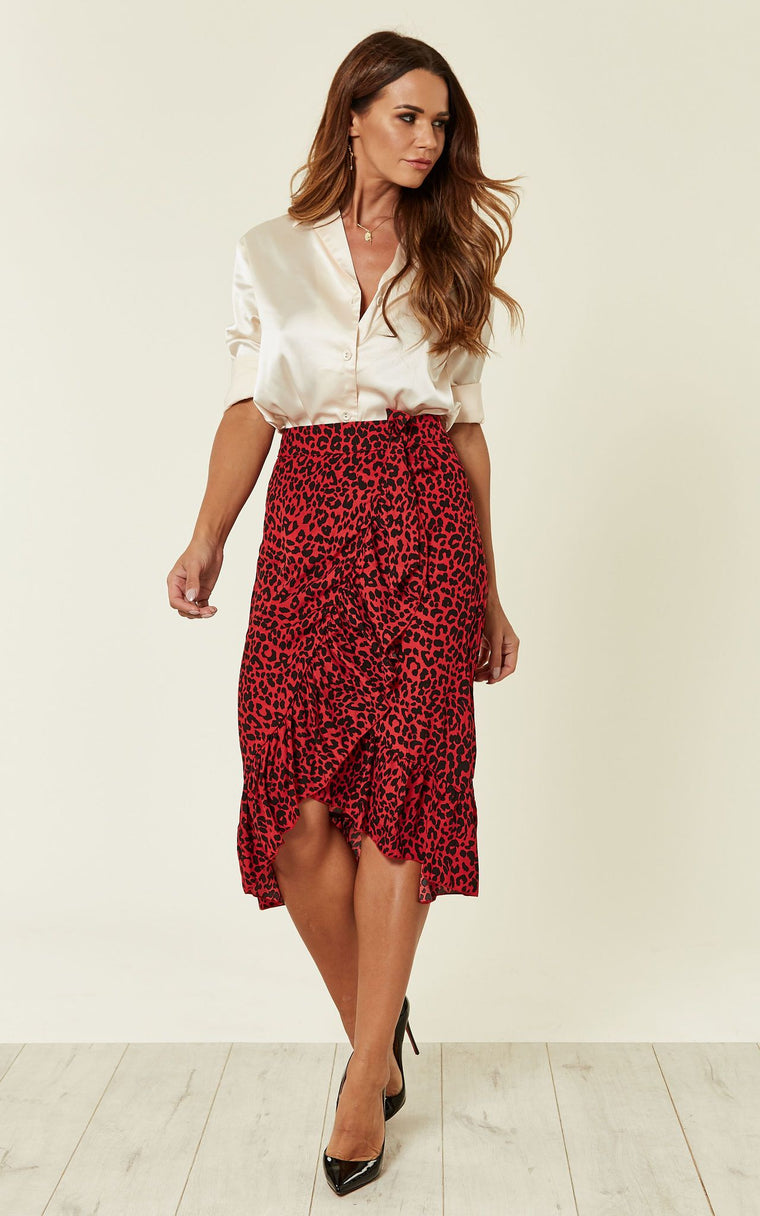 Red Leopard Wrap Frill Midi Skirt