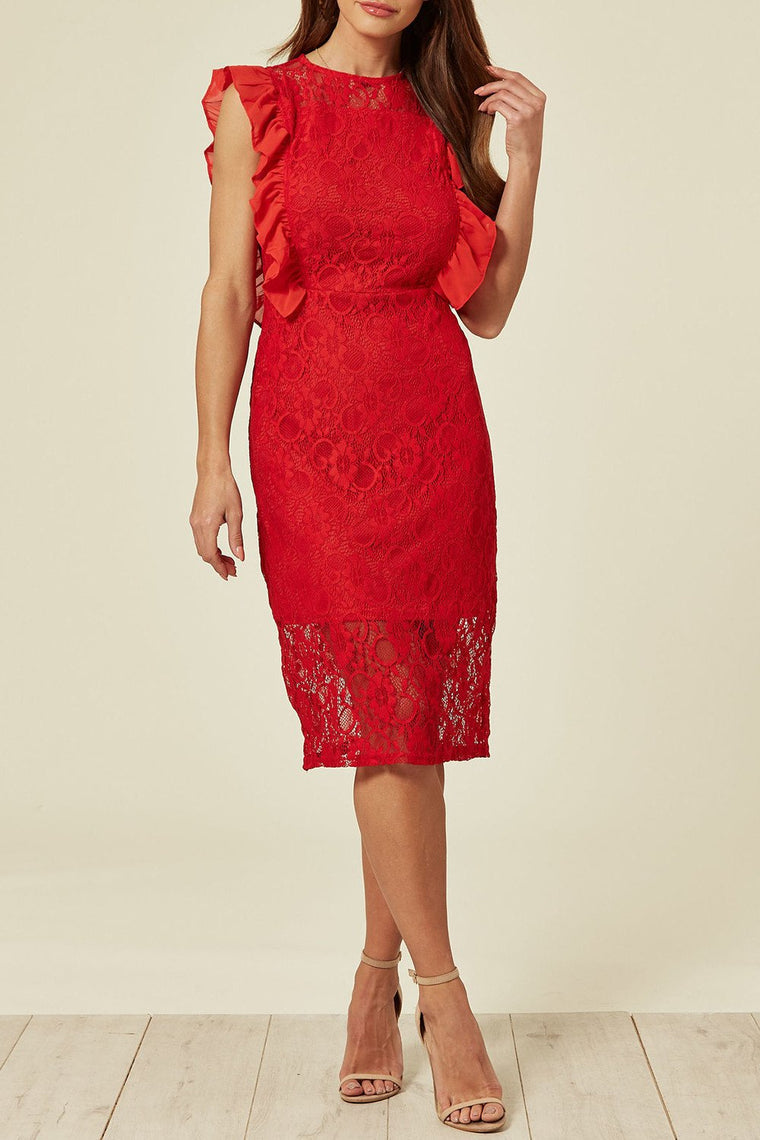 Red Valentines Lace Frill Midi Dress