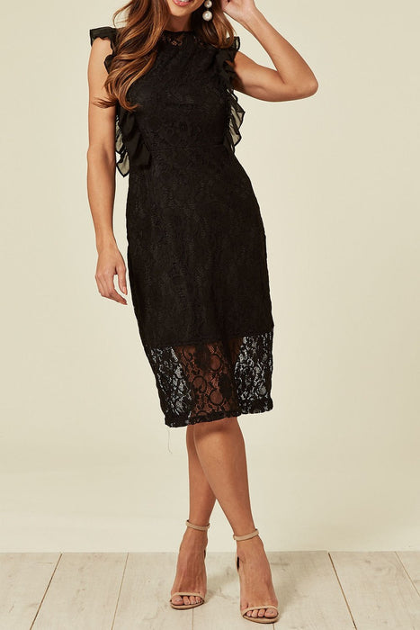 Black Valentines Lace Frill Midi Dress