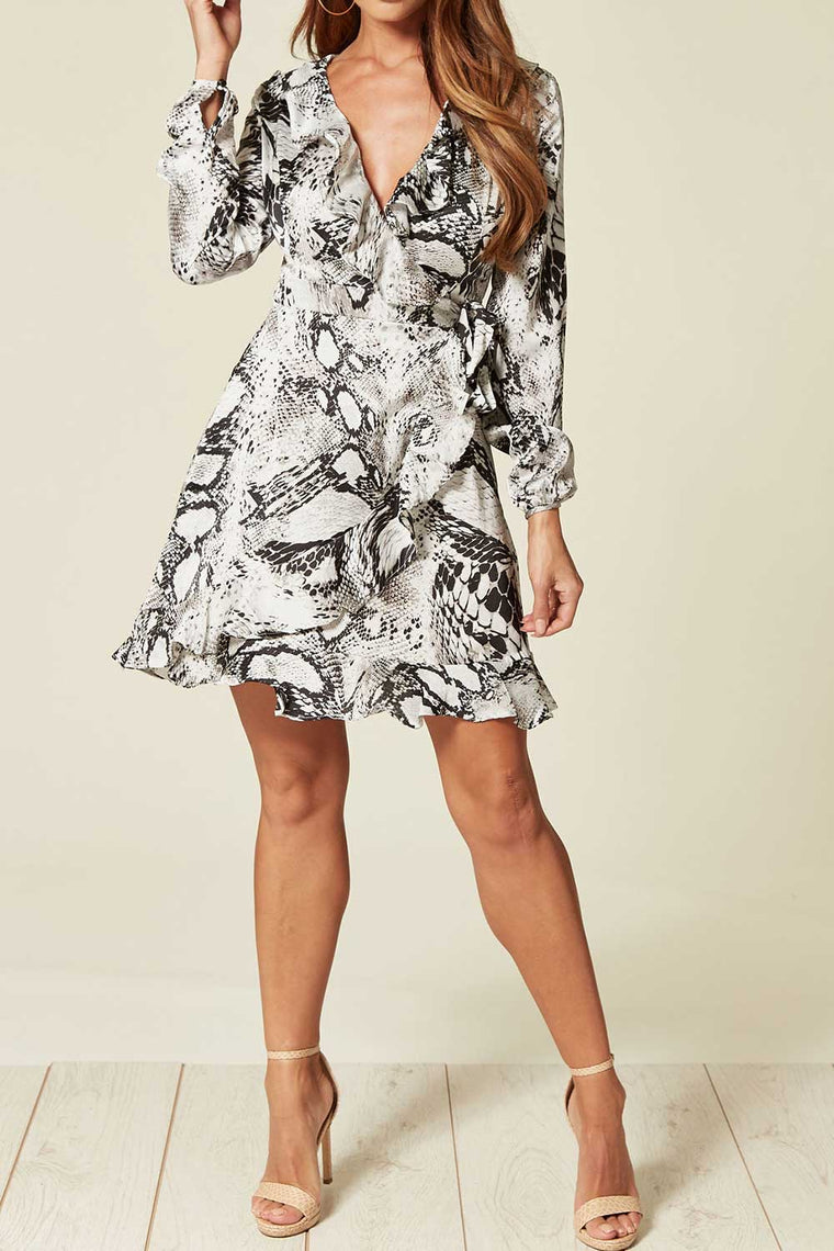 Grey Snake Print Wrap Dress with Frill Detail