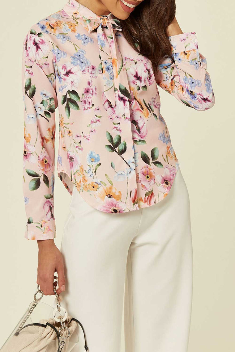 Pink Floral Print Blouse with Neck Tie Detail