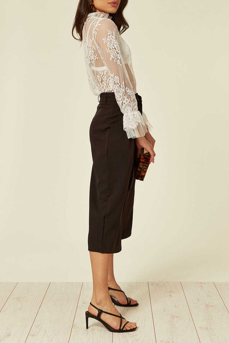 Black Culotte Trouser with Cropped Wide Leg