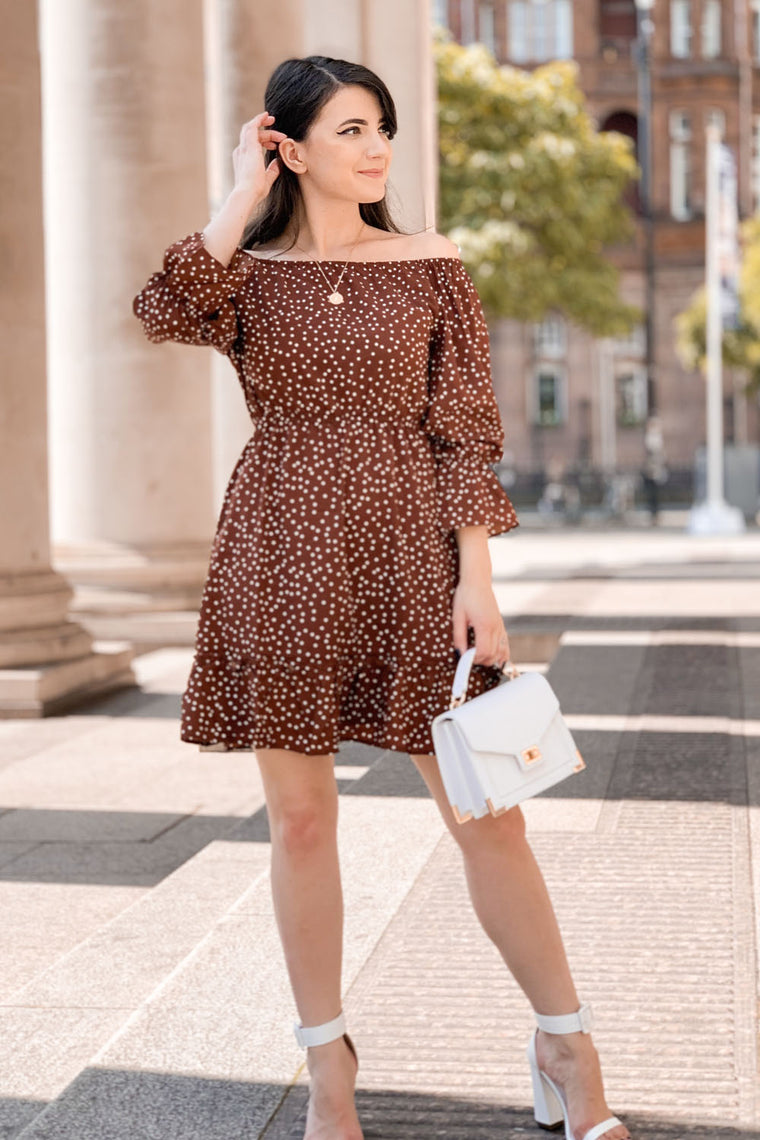 Brown Polka Dot Bardot Skater Dress