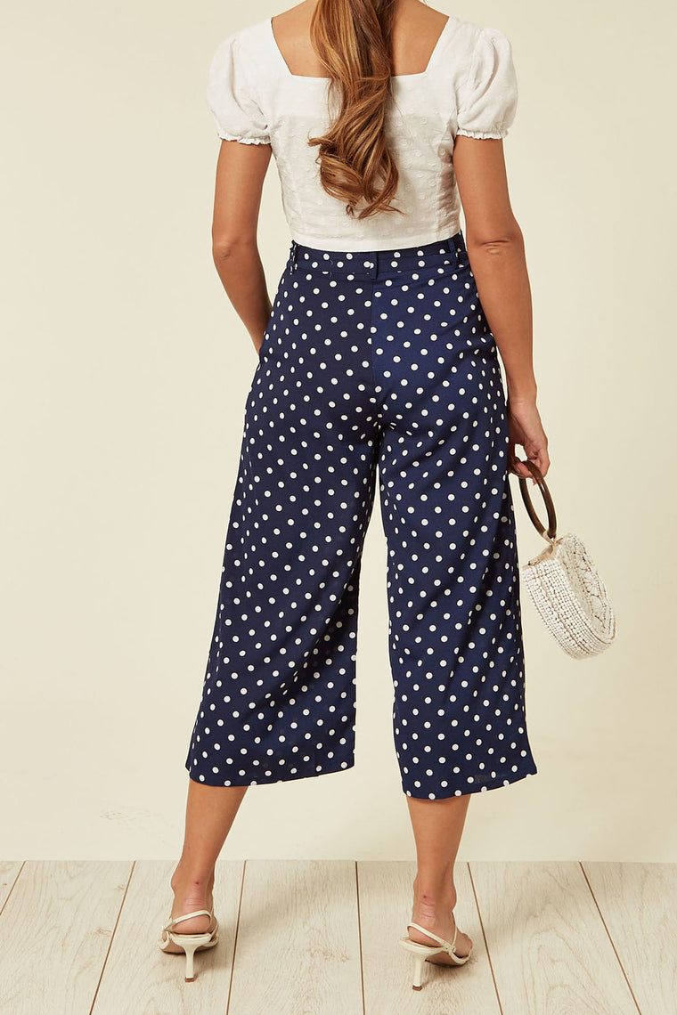 Navy Polka Dot Culotte Trouser