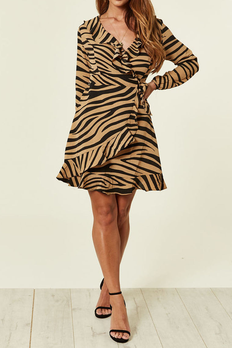 Zebra Print Frill Wrap Dress