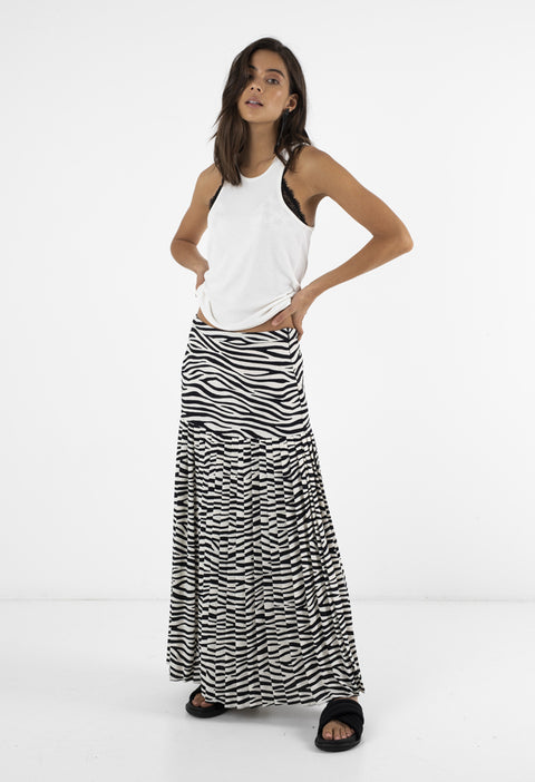 BOWIE PLEATED SKIRT - ZEBRA