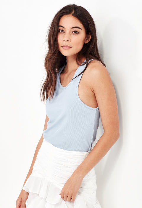 TAMMY RIBBED TANK - POWDER BLUE