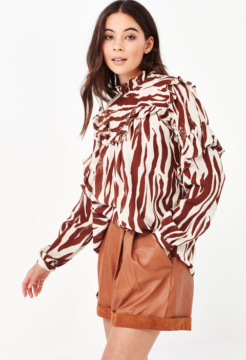 HEATHER SHIRT - TAN ZEBRA