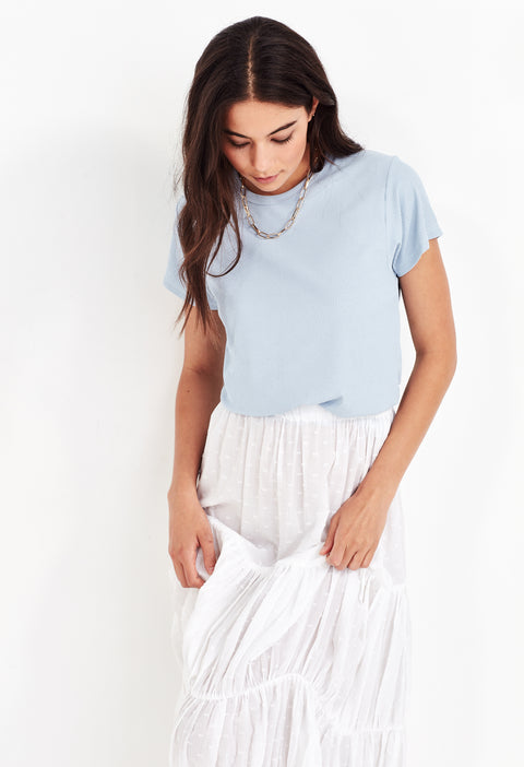 ANYA RIBBED TEE - POWDER BLUE