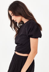 YASMIN CROPPED BLOUSE - BLACK