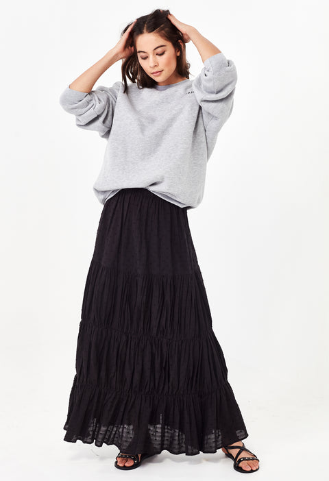 YASMIN TIERED MAXI SKIRT - BLACK