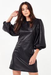 ARIZONA LEATHER DRESS - BLACK