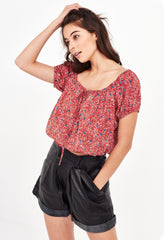 ELLE CROPPED BLOUSE - RED MEADOW