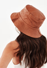 ARIZONA LEATHER BUCKET HAT - TAN