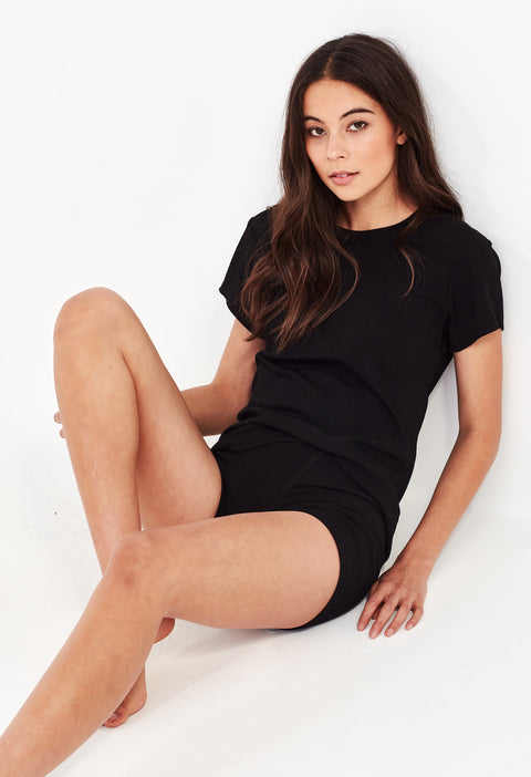 LEAH RIBBED BIKE SHORT - BLACK