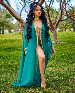 "Raissa ""Emerald"" Hand-Beaded Coverup"