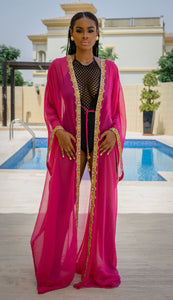 "Raissa ""Fuschia"" Hand-Beaded Coverup"