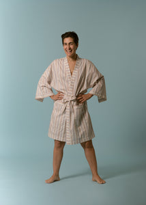 The Everyday Short Robe in Stripe