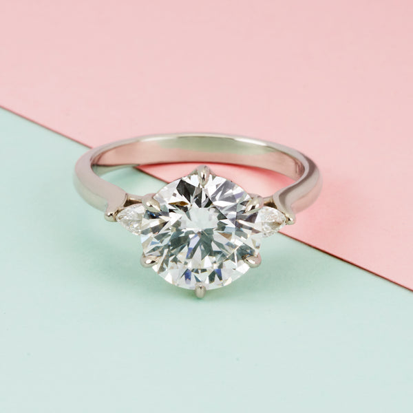 Isela Three-Stone: 3.19ct Diamond Ring